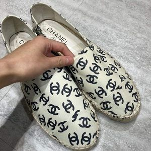 All Lamb Leather Chanel logo espadrilles